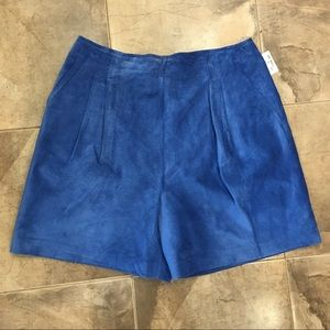 NWT vintage Danier Blue Leather Suede Shorts 16